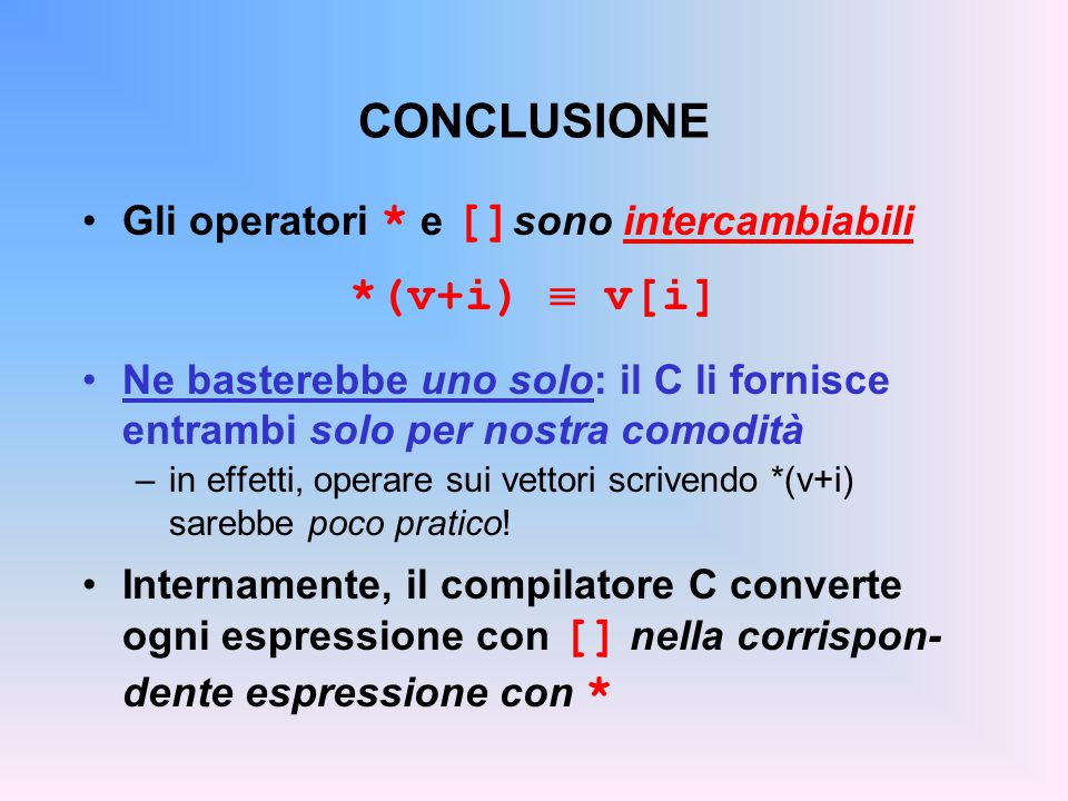 CONCLUSIONE *(v+i)  v[i] Gli operatori * e []sono intercambiabili